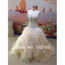 Vestido de bola de amostra real strapless sweetheart organza tribunal vestido de casamento com trem JWD004