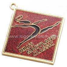 Medalha de dança personalizada com epóxi e brilho dourado