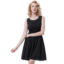 Belle Poque sans manches en coton à col A-Line One Piece Retro Vintage Black Dress BP000289-2