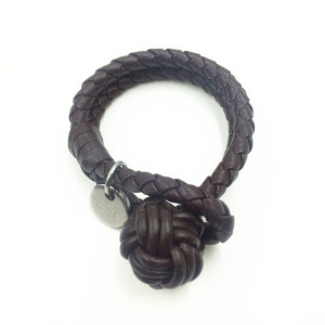 Mens Mode Monkey Fist Knot Brown Leather Bracelet