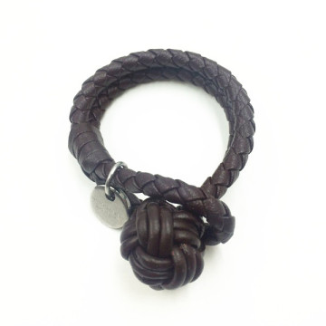 Mens Fashion Monkey Fist Knot Brunt Läderarmband