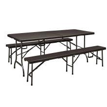 Rattan Design 6FT dobrando em meia mesa