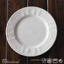Porcelana blanca en relieve con placa lateral de diseño clásico