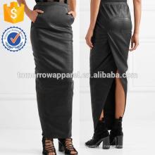 Nova Moda Ruched Stretch Couro Maxi Saia Diária DEM / DOM Fabricação Atacado Moda Feminina Vestuário (TA5171S)