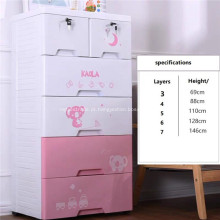 Armários de roupas de 5 camadas do armário plástico da gaveta do bebê