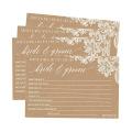4X6 Laço Antigo Cartões de Casamento Papel Kraft Recepção Desejando Livro de Visitas Impressão de Cartão de Casamento Alternativo