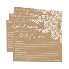 4X6 Encaje Antiguo Kraft Papel Tarjetas de boda Recepción Deseando Libro de visitas Impresión alternativa de tarjetas de boda