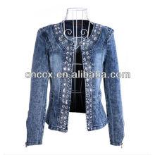 14LJ1073 nova moda beading jaqueta jeans