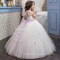 Lace Tulle Flower Girls Dresses For Wedding Little Train Puffy Princess Dresses girl first communion dress with purple belt