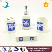 4pcs handpaint blue starfish cerâmica casa acessório para uso banheiro decoração