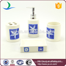4pcs handpaint голубой starfish керамический вспомогательное оборудование дома для украшения пользы ванной комнаты