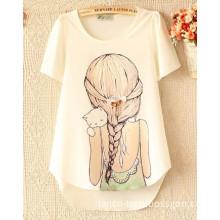 Girl Beautiful Printing Loose Fashion T Shirt for Summer Woman Girl