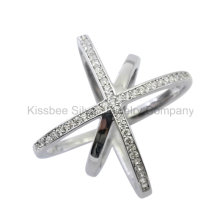 Fashion 925 Silver Jewelry Inlaid CZ Ring (KR3082)