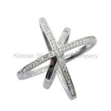 Moda jóias de prata 925 embutidos anel cz (kr3082)