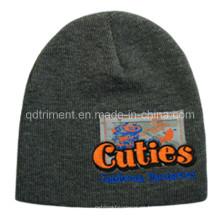 Patch de acrílico impreso bordado esquí caliente hecho punto sombrero de gorrita (TRK004B)