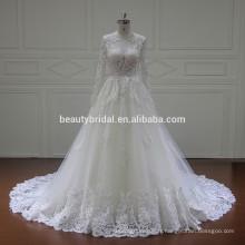 Xf16093 vente chaude robe de mariée à manches longues robes de mariée avec trou de clé sur le dos