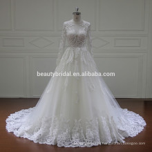 xf16093 hot sale elegant wedding dress long sleeves bridal gowns with key hole on the back