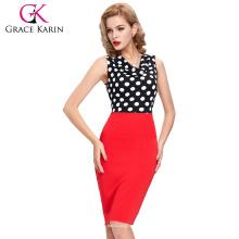 2016 Las nuevas mujeres del occidente de la llegada adelgazan los puntos de polca rojos sin mangas aptos del V-Cuello que empalman el vestido corto CL009265-1 del lápiz