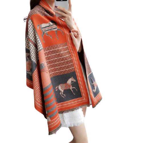 Womens Autumn Winter Thicken Printed Horse Shawl Scarf Muffler