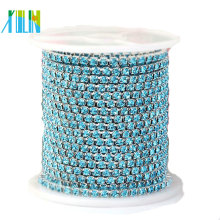 cadena cristalina del conector del rhinestone de la base de plata para el bikini