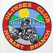 Emblema do bordado do logotipo do vestuário do círculo de alta qualidade