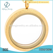 Meistverkaufte schwimmende Medaillon-Hersteller, mattes Magnetglas-Medaillon, Diffusor-Medaillon-Edelstahl-Gold