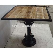 Industrial Jack Crank Bar Table Square Mango Top Madeira Ferro moldado