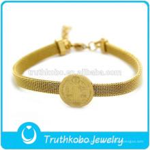 articles religieux religieux bracelet en maille plaqué or médaille religieuse pendentif bracelets catholiques en acier inoxydable 316