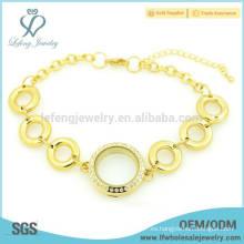 Cadenas cristalinas de la pulsera del locket del cristal de la venta caliente, pulseras del imán del oro para las mujeres
