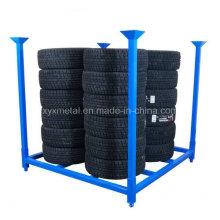 Rack de armazenamento de empilhamento dobrável para pneus de caminhão com pneus PCR e Fabic