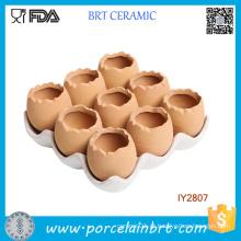 Adorável conjunto de 9 ovos marrons Design vaso de cerâmica