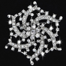 Top Quality Full Rhinestones silver color flower Brooch Pins Crystal bridal jewelry for women