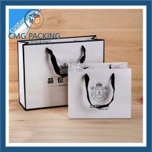Saco de papel da roupa com impressão preta (CMG-MAY-040)