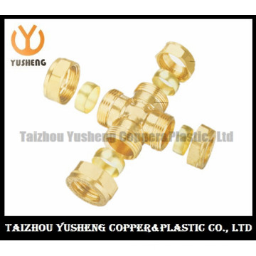Nickel Plated Male Brass Cross Pipe Fittings (YS3100)