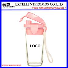 Nouvelle tasse en verre de design avec couvercle en plastique pour gros (EP-LK57272)