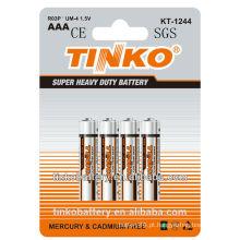 Indústria de CE/SGS famosa 1.5 v aaa R03P bateria de zinco-carbono