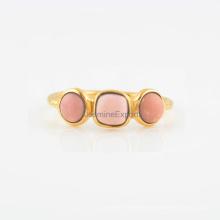 Piedra preciosa del ópalo rosado con la joyería del anillo de compromiso y de bodas de plata de la manera