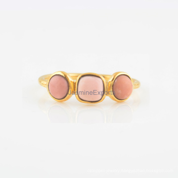 Pink Opal Gemstone With Silver Fashion Engagement & Wedding Ring Jewelry