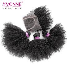 3 paquets de cheveux vierges brésiliens avec fermeture