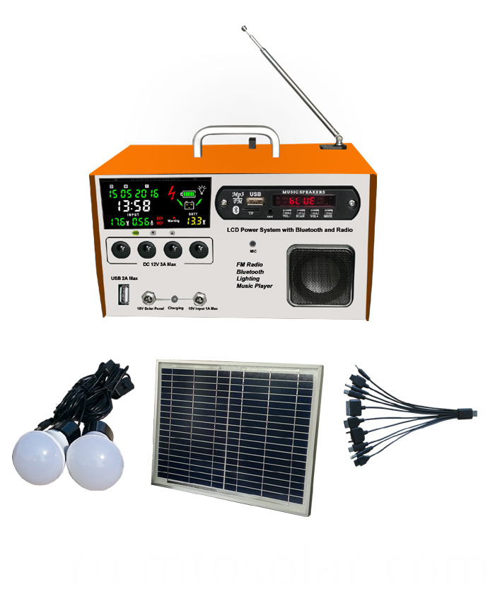 LCD solar home lighting kit
