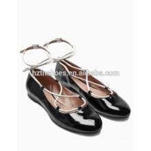Fashion Wrap Ballerina Shoe New Model Ladies Glazed PU Leather Ballet Flats