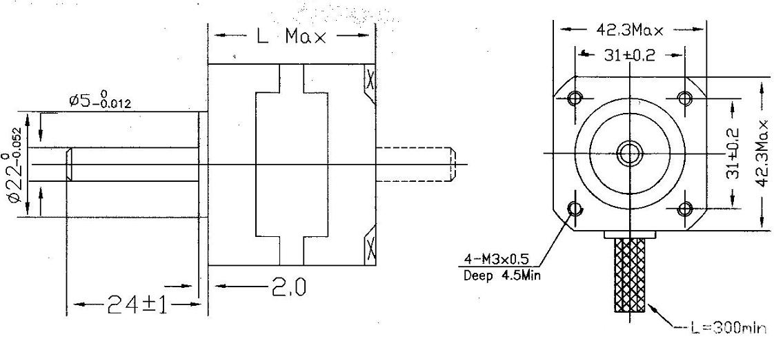 Hybrid stepping motors NEMA 17 mirror inished endcaps strengthened shaft