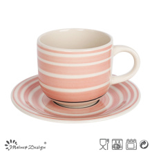Handle Painting Simple Pattern Cup & Saucer