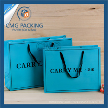 Printed Blue Shopping Bag with Black Printing and Wide Satin Handle (CMG-MAY-041)
