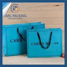 Saco de compras azul impresso com impressão preto e alça de cetim largo (CMG-MAY-041)