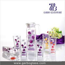 Conjunto de jarro de vidro decorado, conjunto de copos de água (GB-)