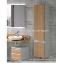 Preço barato Auto-Handle Design Melamine revestido Mdf Vanity do banheiro com armário alto