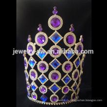 Свадебные фиолетовые и синие стразы тиары и корону принцессы для девочек