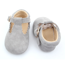 Quality Real Suede Leather Baby Girls Dress T-Bar Shoes