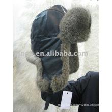 Chapeau de fourrure de lapin avec chapeau de fourrure d'hiver en cuir de porc